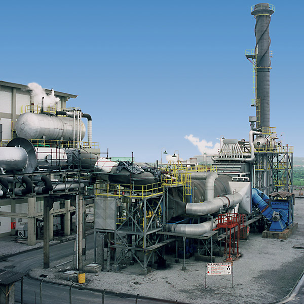 Incineration plant in the industrial soot