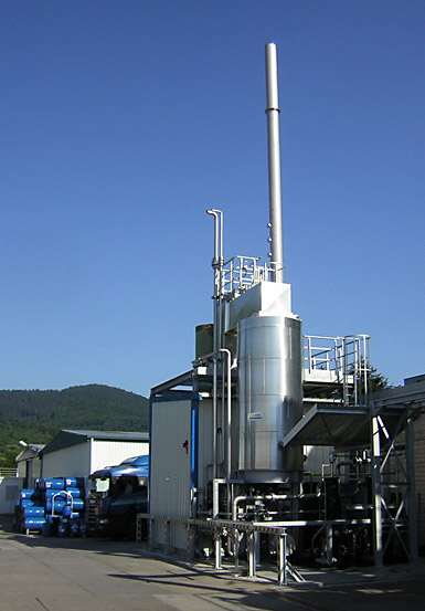 Incineration plant in the chemical industry