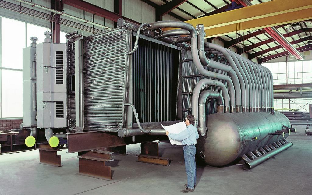 Waste heat boiler in a compact design