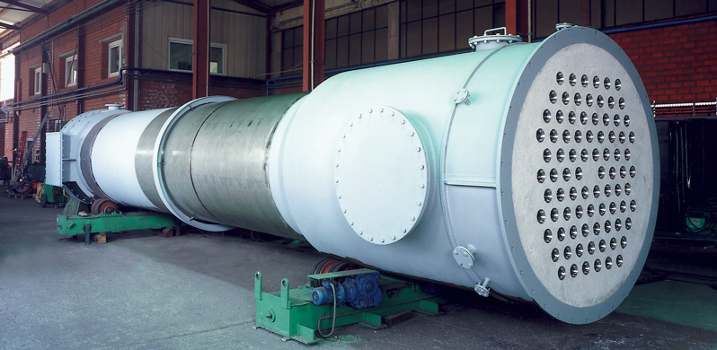 Product gas through pipes