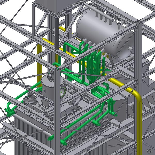 INVENTOR representation of a boiler roof