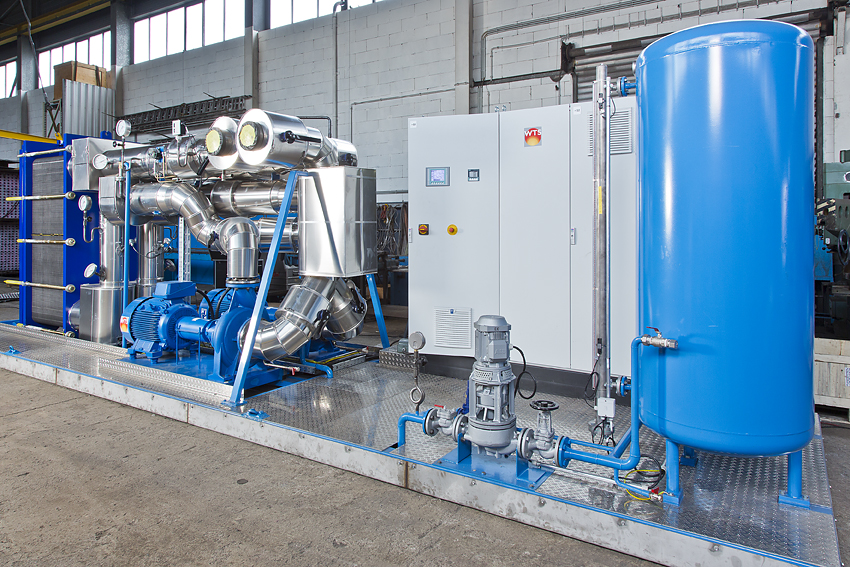 Pump station with plate heat exchanger